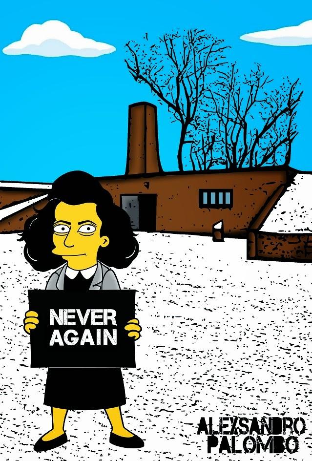Anne Frank Simpsonized The Simpsons Auschwitz Birkenau 70th anniversary Antisemitism Holocaust Shoah Nazism Racism Israel Jewish Jews Homer Marge Simspon Lisa Bart Contemporary Art Artist aleXsandro Palombo 11