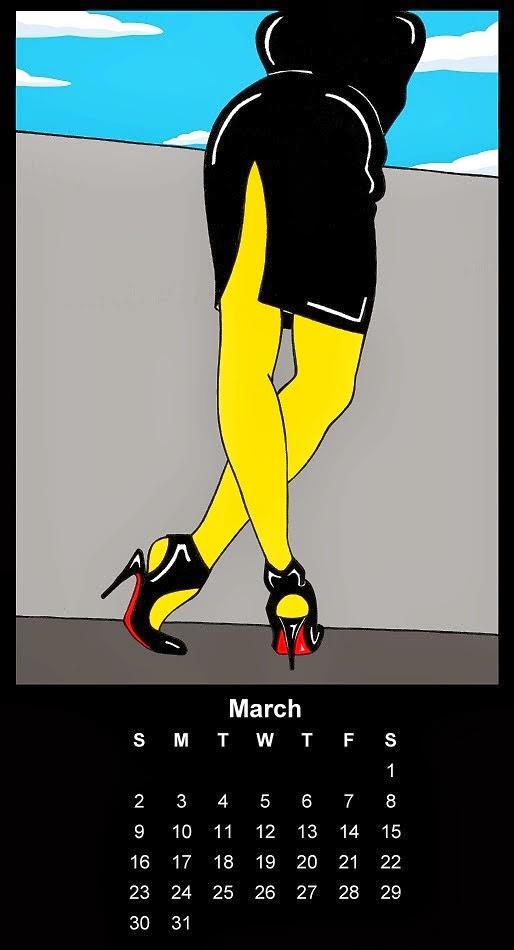 Homer and Marge Simpson Helmut Newton Erotic Iconic Shots Celebrate 25 years The Simpsons Calendar 2014 March Art Cartoon Satire Fashion Luxury Humor Chic by aleXsandro Palombo
