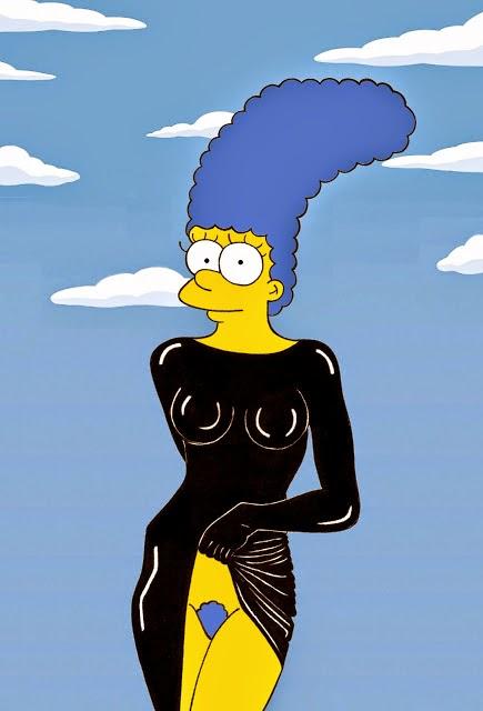 Marge Simpson as Stephanie Seymour Nude Portrait by Richard Avedon Iconic Shots Art Fashion Luxury Satire Illustration Cartoon Painting Humor Chic by aleXsandro Palombo