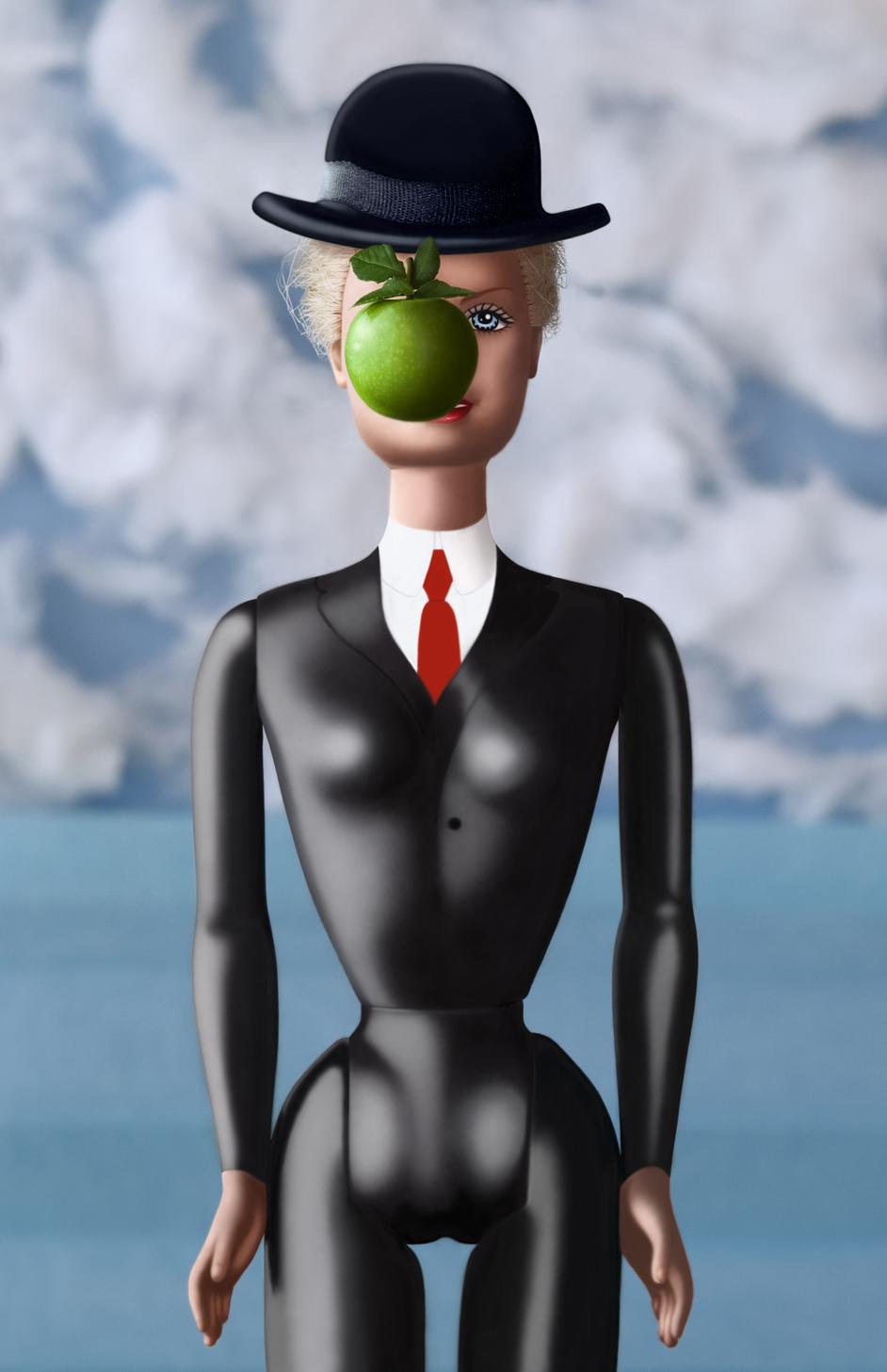 On a volé la pomme d'Adam. clin d'oeil à Magritte