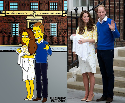 Royal Babies Simpsonized Kate Middleton Prince William Lady Diana Spencer Prince Charles Lindo Wing The Simpsons Immortalized Art Artist aleXsandro Palombo 2 Web a