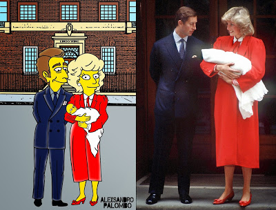Royal Babies Simpsonized Kate Middleton Prince William Lady Diana Spencer Prince Charles Lindo Wing The Simpsons Immortalized Art Artist aleXsandro Palombo 4 Web a