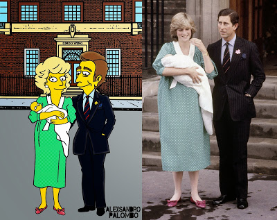 Royal Babies Simpsonized Kate Middleton Prince William Lady Diana Spencer Prince Charles Lindo Wing The Simpsons Immortalized Art Artist aleXsandro Palombo 5 Web (2)a