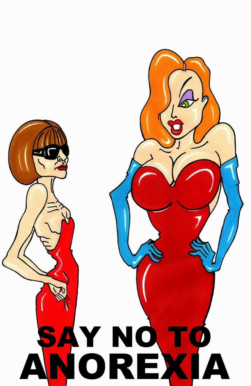 Social Health Campaign VOGUE Editrix Anna Wintour and Jessica Rabbit Say No to ANOREXIA Art Portrait Fashion Luxury Body Health Satire Critic Humor Chic by aleXsandro Palombo