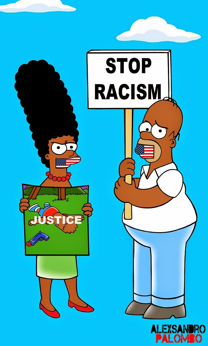 The Simpsons Black Eric Garner Statue of Freedom Homer Simpson Marge Bart Lisa Clancy Winchester Policeman Bill De Blasio Police Stop Racism Racist I can't Breath Art Campaign Artist aleXsandro Palombo 3