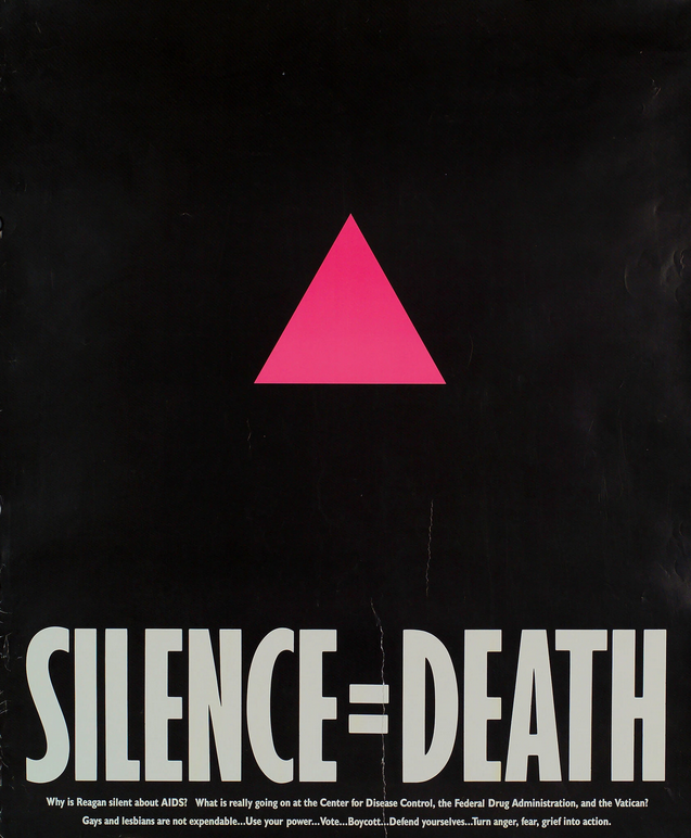 """Act Up's campaign poster """"Silence = Death"""" (1987).Credit...Gran Fury Collection, Manuscripts and Archives Division. Astor, Lenox and Tilden Foundations. Photo: The New York Public Library/Art Resource, NY"""