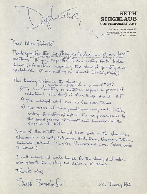 """Duplicata d'une lettre écrite par Siegelaub sollicitant des œuvres d'art pour le """"25"""" Show 1966. La lettre explique l'intention de Siegelaub dans l'organisation de l'exposition."""